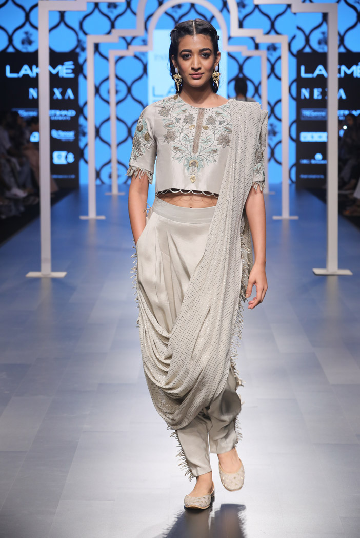 PS-FW475 Gazal Grey Silk Crop Top and Low Crotch Pants with attached Mukaish Georgette Drape