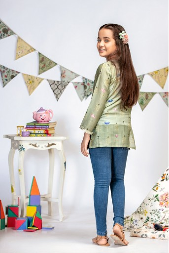 PS-KG0002 Green Printed Silkmul Tunic