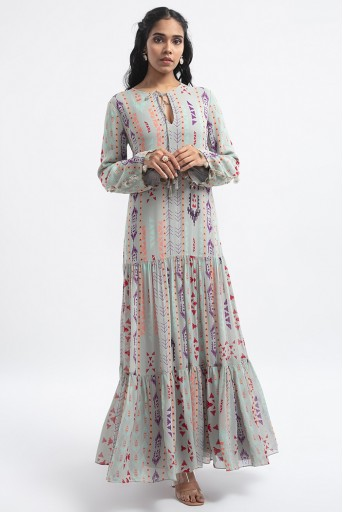 PS-DR0014-B  Grey Colour Printed Art Georgette Tiered Dress