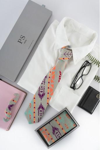 PS-PS101  Grey colour printed silkmul pocket square