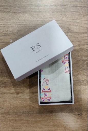 PS-PS099  PS Men Grey colour printed silkmul pocket square