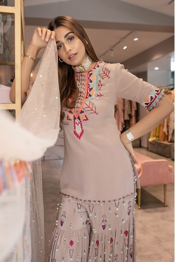 PS-KP0002  Grey Crepe Embroidered Kurta with Sharara and Dupatta Set