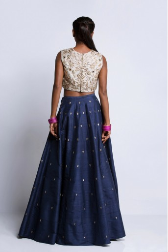 PS-ST0866A Grey Dupion Silk Choli with Navy Dupion Silk Lehenga and Grey Net Dupatta