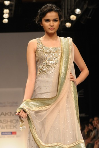 PS-FW118 Grey Mukaish Kurta with churidar and Dupatta