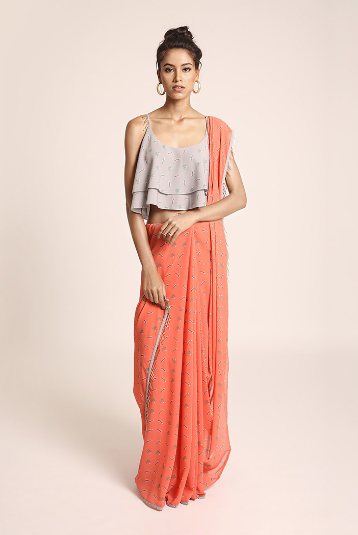 PS-ST1207M Grey Printed Art Crepe Two Layer Top with Coral Printed Art Georgette Saree