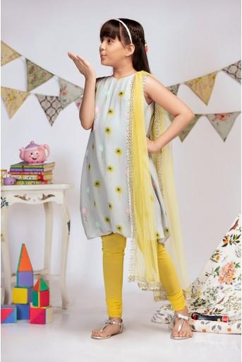 PS-KG0008 Grey Printed Crepe Balloon Kurta with Yellow Soft Net Churidar and Net Dupatta