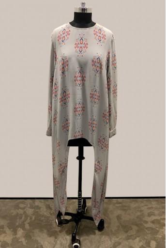 PS-TU1389-2 Grey Printed Crepe Dress