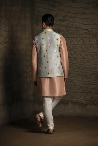 PS-MN079 Grey Printed Dupion Silk Bandi with Rose Pink Silk Kurta and Off White Cotton Silk Churidar