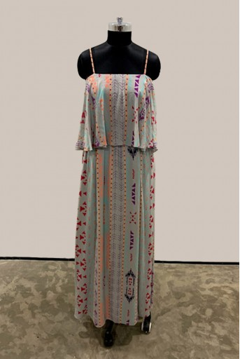 PS-TU1415-3 Grey Printed Georgette Flouncy Dress
