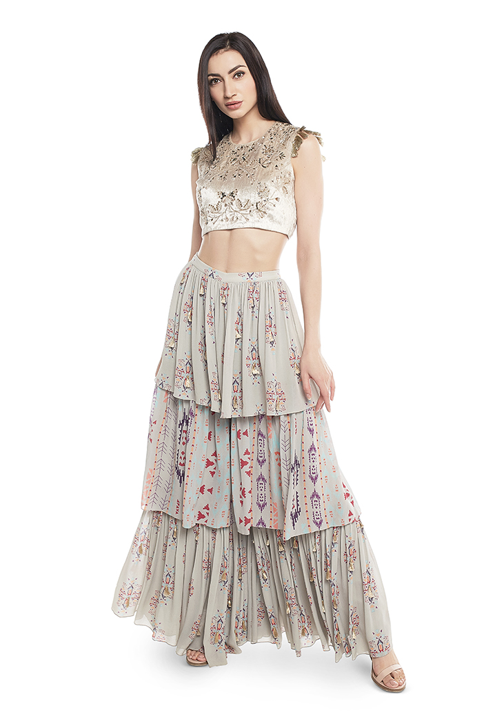 PS-FW613-A  Grey Velvet Choli with Grey Printed Georgette Layered Sharara