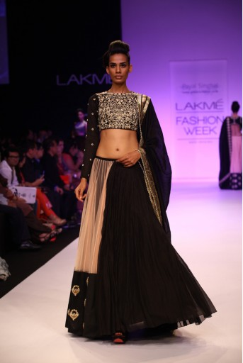 PS-FW213 Gul Black Silkmul Choli with Black and Blush Lehenga and Dupatta