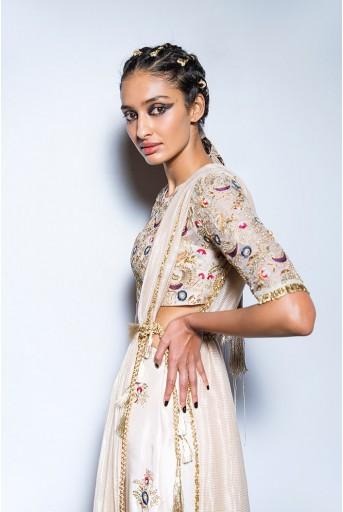 PS-FW580 Gulbanu Stone Organza Choli with Silk Skirt Palazzo and Chanderi Stripe Dupatta