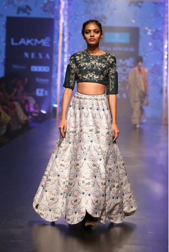 PS-FW549 Gulisa Emerald Green Silk Choli with Powder Blue Printed Dupion Silk Scallop Lehenga