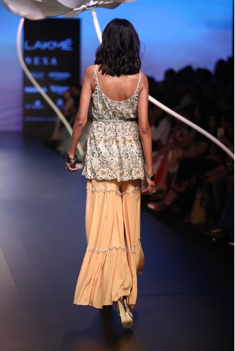 PS-FW538 Gulsen Stone Georgette Top with Peach Crepe Sharara Pant and Gold Lace Belt