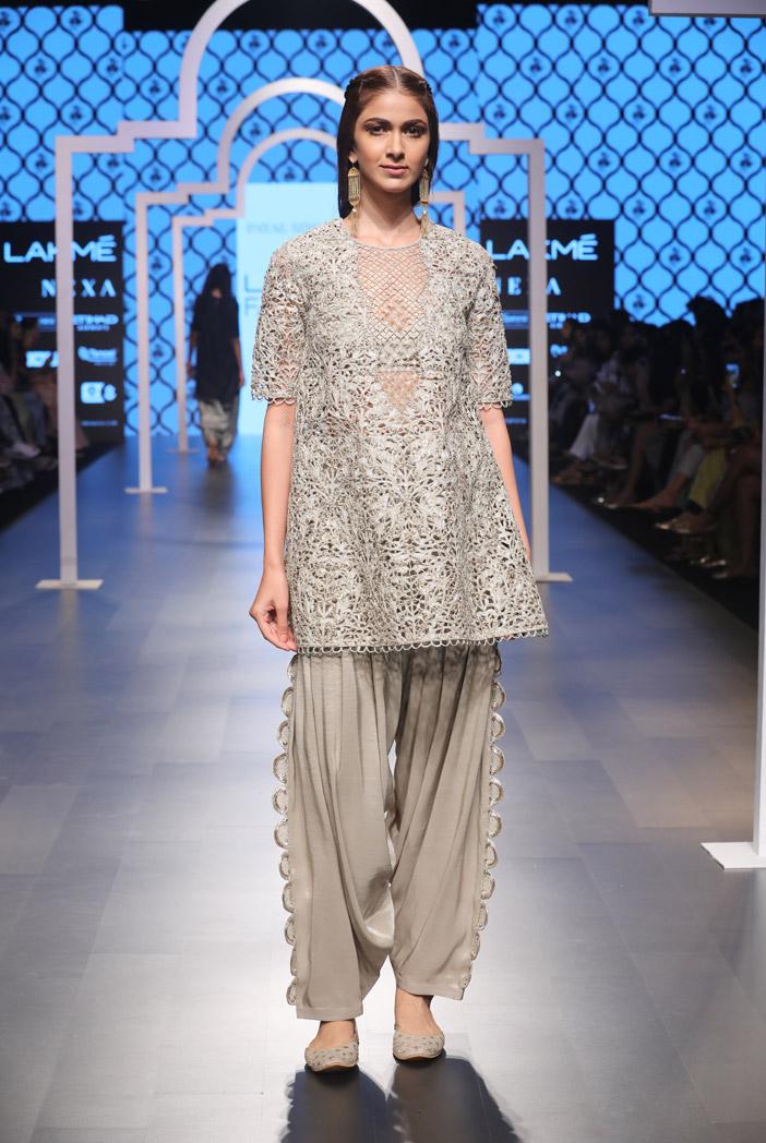 PS-FW495 Heba Grey Silk Bustier and Salwar with Overlay Kurta