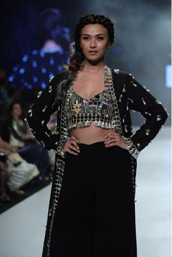 PS-FW659B Helina Black Georgette Choli with Jacket and Frill Palazzo