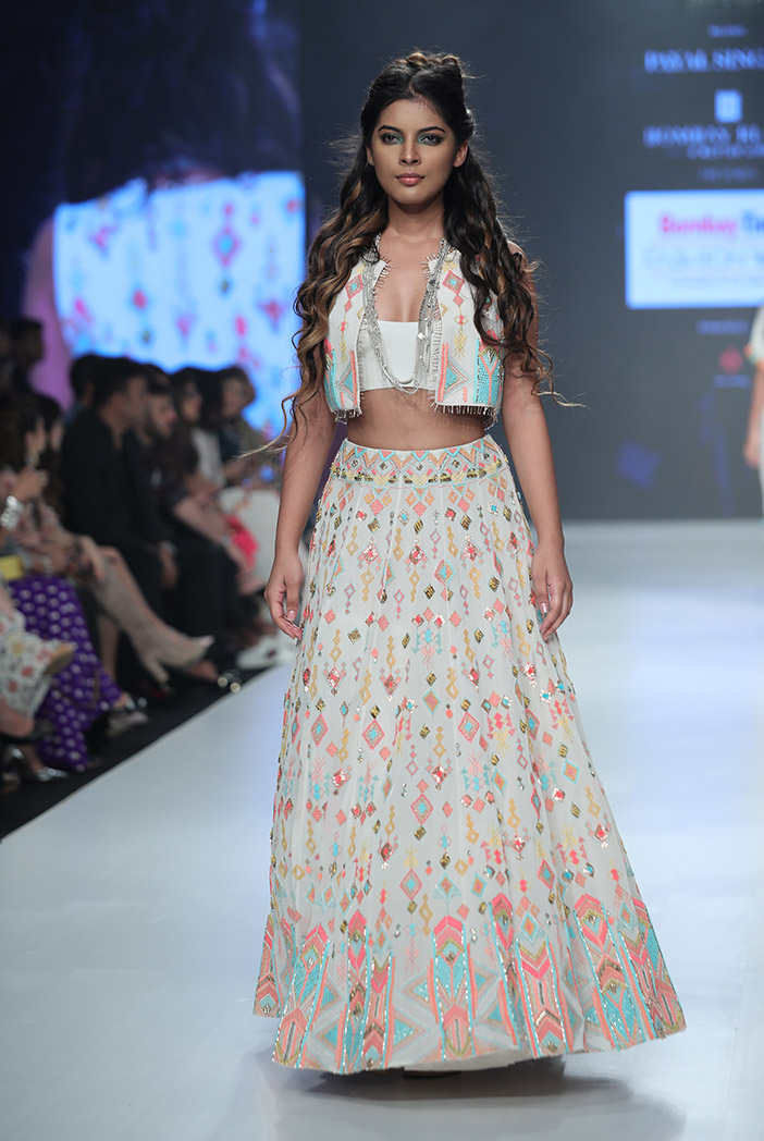 PS-FW678 Huma Chalk White Georgette Waist Coat with Bustier and Lehenga