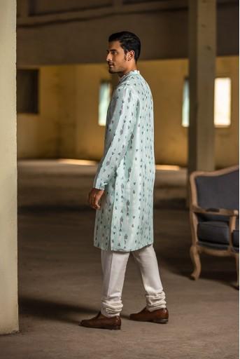 PS-MN075 Ice Blue Printed Silk Kurta with Off White Cotton Silk Churidar