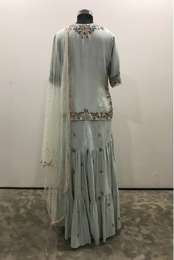 PS-ST1398-B-1 Ice Blue Silk Kurta with Sharara and Mukaish Net Dupatta