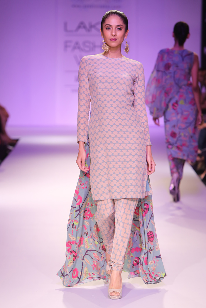 PS-FW266 Ila Blush and Blue Print Crepe Kurta with churidar and Chiffon Dupatta