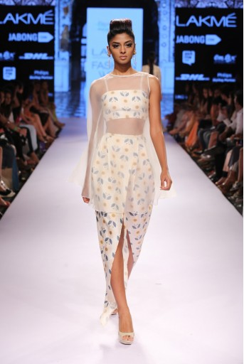 PS-FW310 Imara Ivory Printed Dupion Silk Bustier with Dhoti Pant and Organza Cape