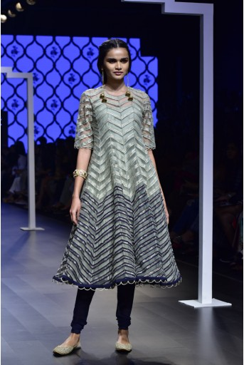 PS-FW490 Irem Mint and Navy Silk and Net Anarkali with Navy Soft Net Churidar and Mint Chiffon Dupatta