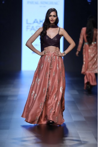 PS-FW430 Irma Purple Mukaish Georgette Bustier and Dupatta with Coral Silk Palazzo Lehenga