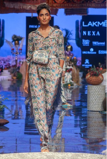 PS-FW647 Ista Pink Printed Crepe Jumpsuit