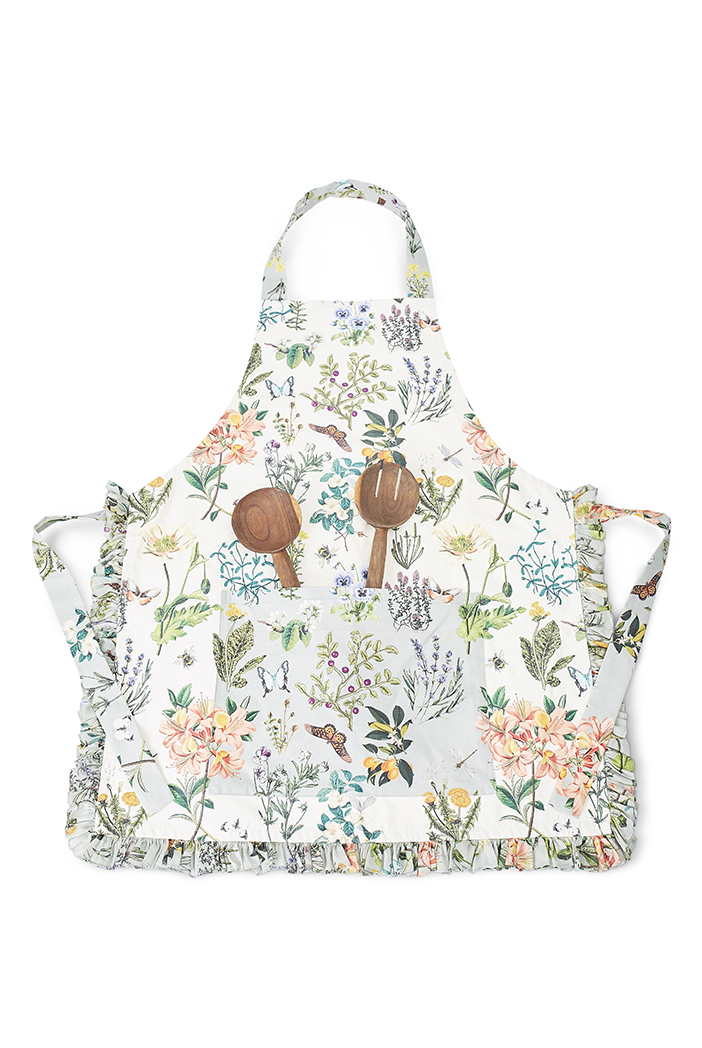 PS-AP0004  Ivory and Aqua Colour Printed Canvas Apron with Pouch