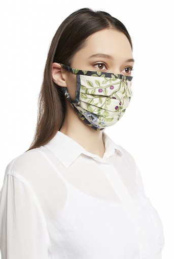 PS-MS0013 Ivory and Black Titli Print Pleated 3 Ply Mask with Pouch