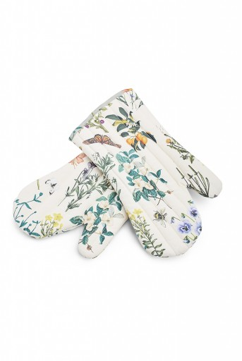 PS-MI0004  Ivory Colour Printed Canvas Mittens with Aqua Colour Printed Silkmul Piping
