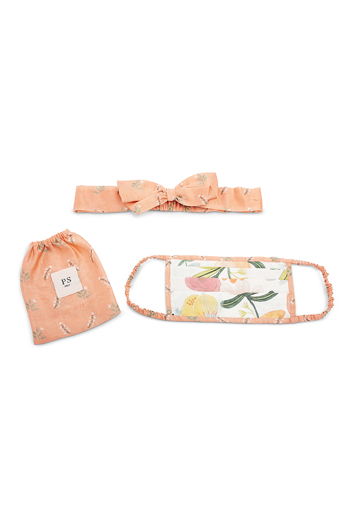 PS-HM0019  Ivory Hand Painted And Coral Stem Print Pleated 3 Ply Mask With Pouch And Hairband Set
