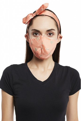 PS-HM0021  Ivory Hand Painted And Coral Stem Print Reversible 3 Ply Mask With Pouch And Hairband Set