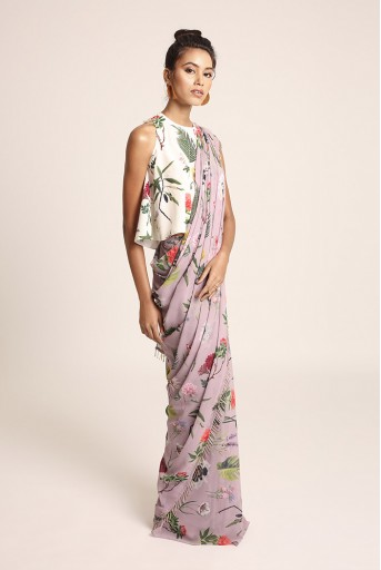 PS-ST1207L Ivory Printed Art Crepe Top with Lilac Printed Art Georgette Saree