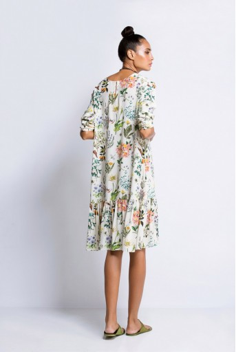 PS-TU0584 Ivory Printed Crepe Frill Tunic