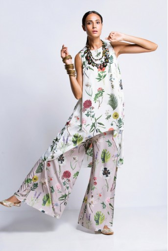 PS-FW420K Ivory Printed Crepe Tunic with Lilac Printed Semi Crepe Low Crotch Pant