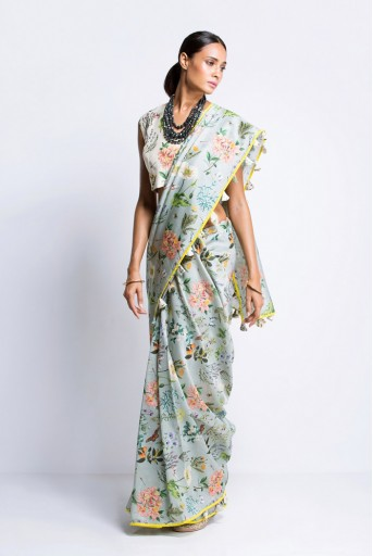 PS-ST0939 Ivory Printed Silkmul Choli with Aqua Printed Silkmul Saree