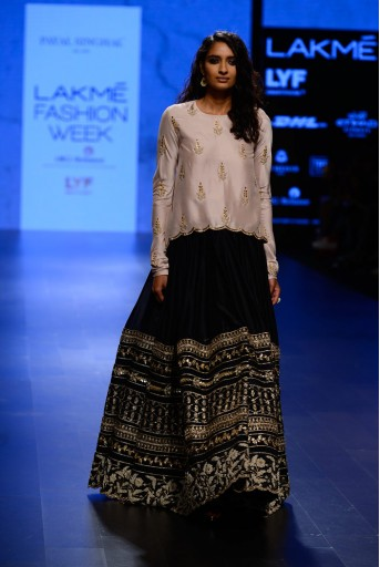 PS-FW417 Jannat Blush Silk Tunic with Black Silkmul Lehenga