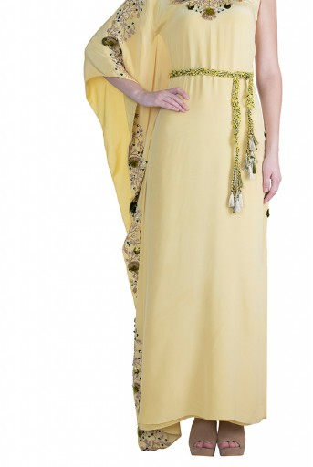 PS-FW598 Jihan Pale Yellow Crepe Kaftaan