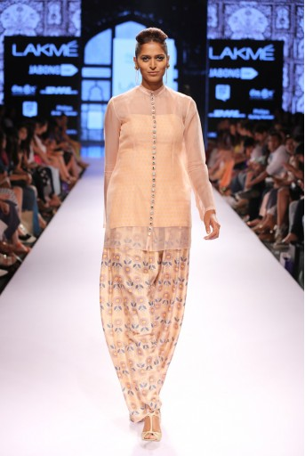PS-FW304 Jora Blush Printed Dupion Silk Kurta with Afghani Salwar and Organza Overlay Kurta