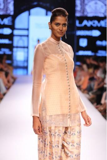 PS-FW304 Jora Blush Printed Dupion Silk Kurta with Afghani Salwar and Organza Overlay Kurta
