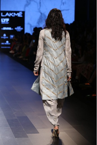 PS-FW398 Junoon Dove Grey Silk Top and Low Crotch Pant with Powder Blue Dupion Silk Jacket