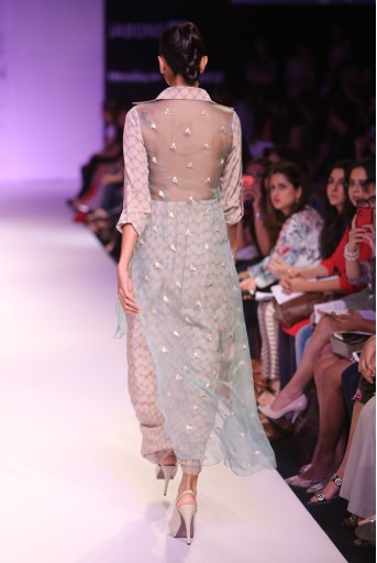 PS-FW267 Kama Blush and Blue Printed Crepe Kurta with Embroidered Organza Hem and Dhoti Skirt