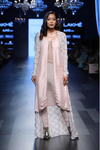 PS-FW435 Kara Blush Silk Cowl Kurta with Soft Net Churidar and Powder Grey Mukaish Georgette Jacket