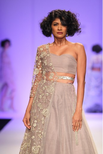 PS-FW337 Karina Stone and Lavender Mukaish Net Bustier and Skirt with Tulle Jacket