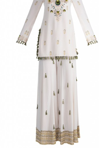 PS-FW599 Kera Stone Crepe Kurta with Sharara and Rose pink Chanderi Stripe Dupatta