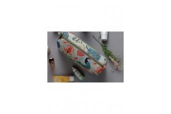 PS-DF032 Khaki Anaar Aur Mor Print Large Sized Vanity Kit