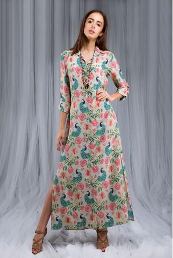 PS-DF006 Khaki Anaar aur Mor Print Shirt Dress