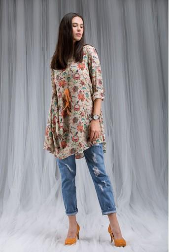 PS-DF007 Khaki Chidiya Print Cowl Tunic