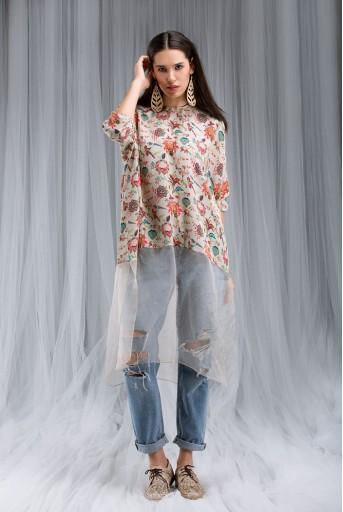 PS-DF004 Khaki Chidiya Print Kaftaan Tunic